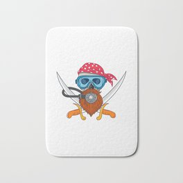 Pirate Skull Beard Diving Mask Drawing Bath Mat