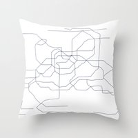 seoul Throw Pillows featuring Seoul Subway by indelible international