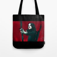 allison argent Tote Bags featuring Allison - Deep In Red by xKxDx