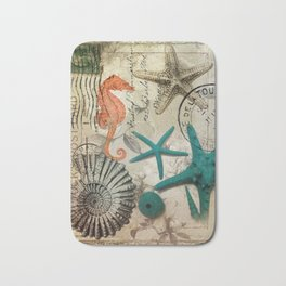 french botanical art seahorse teal green starfish Badematte