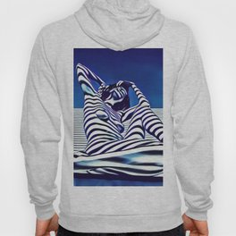 9135-KMA Blue Nude  Woman Striped with Shadow and Light Hoody