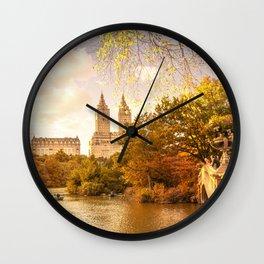 New York City Autumn Landscape Wall Clock