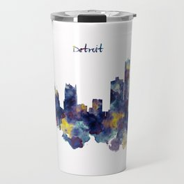 Detroit Skyline Silhouette Travel Mug