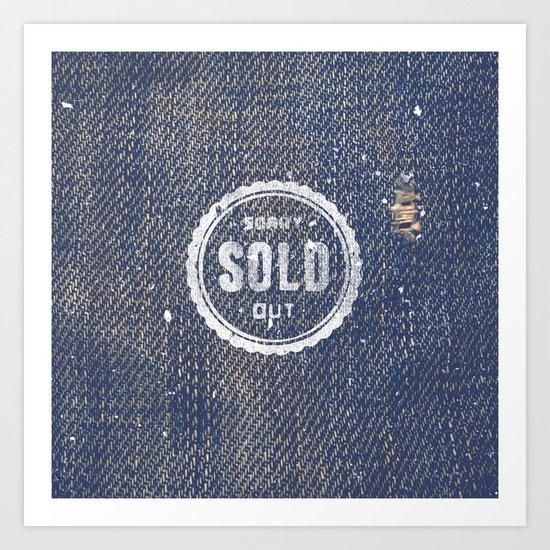 Blue Denim Jeans Texture Cool Fashion Fabric Print Art Print