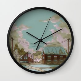 Old houses and silos Wall Clock