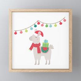 Christmas llamas V Framed Mini Art Print