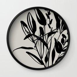 Wild Flowers Bouquet- In Black Wall Clock