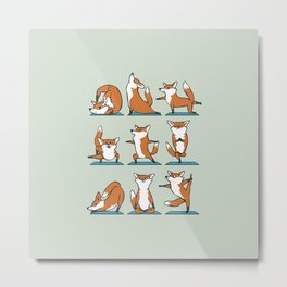 Fox Yoga Metal Print