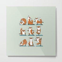 Fox Yoga Metal Print