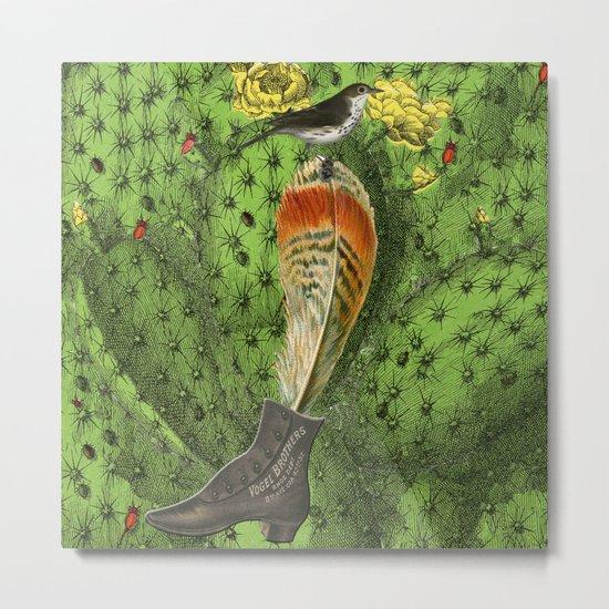 oiseau cactus plume Metal Print