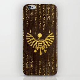 Golden Egyptian Horus Falcon and hieroglyphics on wood iPhone Skin