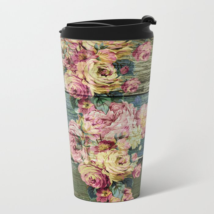 vintage roses on wood Metal Travel Mug