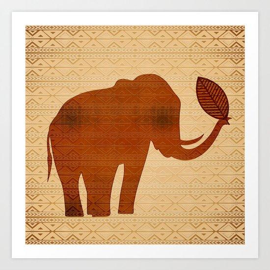 Elephant Tribal Art Design Art Print