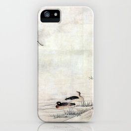 Kano Motonobu Flowers and Birds in a Spring Landscape iPhone Case