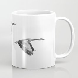 A Pair of Wild Geese Flying Together Synchronized Coffee Mug