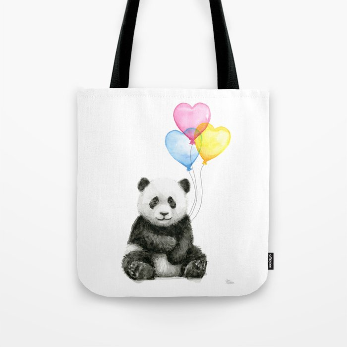 Panda Baby with Heart-Shaped Balloons Whimsical Animals Nursery Decor Tote Bag