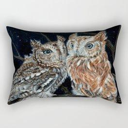 young love on a starry night - screech owls Rectangular Pillow