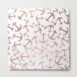 Modern faux rose gold anchors pattern white marble Metal Print