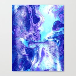 Swirling Marble in Aqua, Purple & Royal Blue Canvas Print