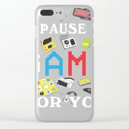 Funny Gamer In Love graphic | I'd Pause My Game For You Tee Clear iPhone Case
