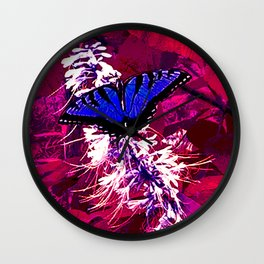 Blue Butterfly on Red Leaves Wall Clock