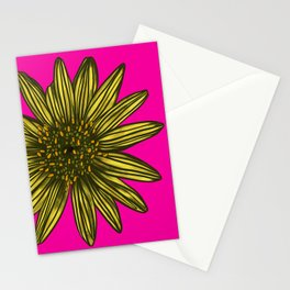 Mellow Yellow Daisy on hot pink Stationery Cards