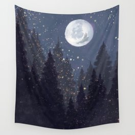 Full Moon Landscape Wall Tapestry