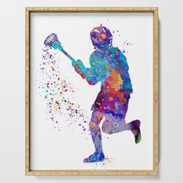 Lacrosse Boy Colorful Watercolor Art Sports Gift Serving Tray