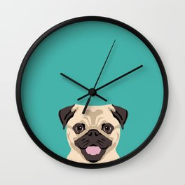 Pug dog head cute gifts for Pug lovers dog breed art pugs Wall Clock