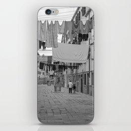 Kid and Grandma in street black white  Venice italy iPhone Skin