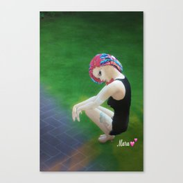 Mew Mara autographed print posing in the park in hoodies and thshirts  Canvas Print
