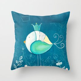 Little prince with a green crown Throw Pillow
