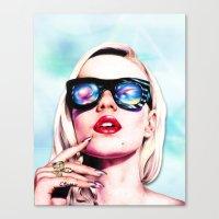 iggy azalea Canvas Prints featuring Iggy Azalea- Blue  by Tiffany Taimoorazy