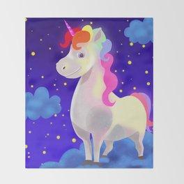 Magical rainbow unicorn Throw Blanket