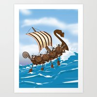 vikings Art Prints featuring The Vikings by Nick's Emporium