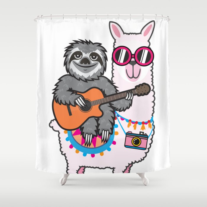 Sloth Llama Guitar Shower Curtain