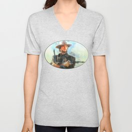 Portrait of Clint Eastwood Unisex V-Neck
