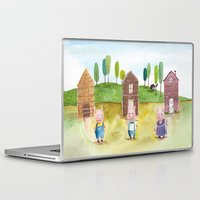 pigs Laptop & iPad Skins featuring The Pigs by Eleanor McComb