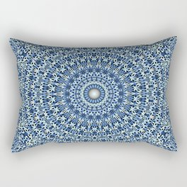 Light Blue Psychedelic Garden Mandala Rectangular Pillow