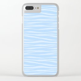 Zebra Print - Wavy Blue Clear iPhone Case