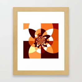 Orange Brown Cream Kaleidoscope Framed Art Print