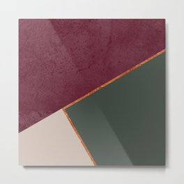 Burgundy Olive Green Gold and Nude Geometric Pattern #society6 #buyart Metal Print