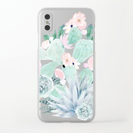 Pastel Cactus Floral Clear iPhone Case