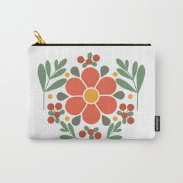 A Red Flower and Lingonberries Carry-All Pouch