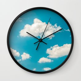 Deep Blue Summer Sky, White Clouds On Turquoise Sky, Heaven Scenery, Wall Art, Poster Decor Wall Clock