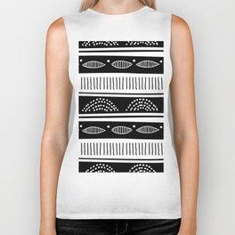 Blac ad white tribal pattern Biker Tank