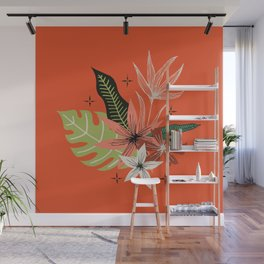 tropical bouquet on orange Wall Mural