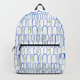 blue arch and leaf pattern Backpack
