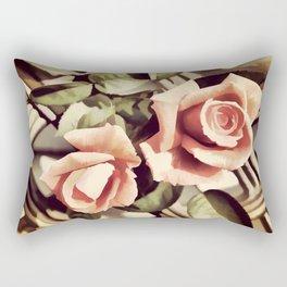 Vintage Rose Garden - Painterly Rectangular Pillow