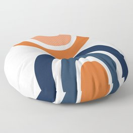 Abstract Shapes 11 in Burnt Orange and Navy Blue Floor Pillow